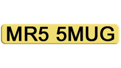 Business Woman's Private Number Plate MR5 5MUG