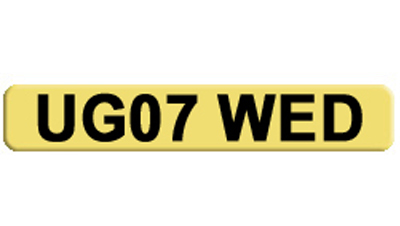 Private car number plate for a Wedding Planner, Bridal Shop, Wedding Car UG07 WED